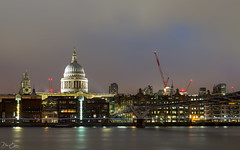 The lights of St. Paul's (Dan Elms Photography) Tags: london stpauls stpaulscathedral cathedral londonskyline londonsky sky nightsky lights light aurora thames riverthames river crane nightshoot longexposure