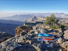 Camping on the edge: 2500m on the way up Jebel Shams.