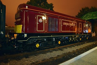 Class 20, 20142 in crimson London Transport Livery, stabled overnight at North Weald. Epping Ongar Railway. 17 09 2016