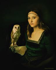 Claudia with Owl (WayneToTheMax) Tags: claudia owl portrait italian renaissanceoil canvas woman lady glove nikon d750