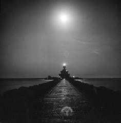 Full Moon over Punta Sabbioni Lighthouse (geojpix) Tags: 120 6x6 analog bessa66 blackwhite film fullmoon lighthouse mf mediumformat neopan100acros puntasabbioni rodinal skopar bwfp cavallinotreporti veneto italien it
