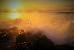 Mist sea and waves (chikaraamano) Tags: sea mist morning would wave rock winter coldly sacred sunrise sky illusion red yellow blue white orange brown dawn innocently refreshing crucible excitement wonderfulmoment carousel universe nice time spacehypnotized outdoor nature cloud horizontal