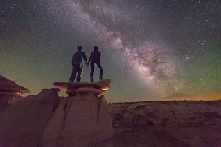 Just south of nowhere... Scaling hoodoo's with my love... Amazing airglow on this night last summer in the Bisti Badlands of New Mexico.