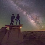Just south of nowhere... Scaling hoodoo's with my love... Amazing airglow on this night last summer in the Bisti Badlands of New Mexico. thumbnail