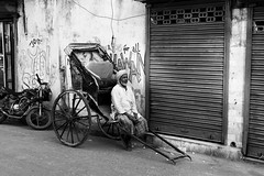 Waiting for a Rider (anthonypond) Tags: rickshaw 50mmsummilux bw leicam9 calcutta india