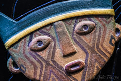 The Mask by Dean Koontz (Alida's Photos) Tags: mask macro macromondays myfavouritenovelfiction myfavoritenovelfiction novel book clay face mayan deathmask macros mini small closeup macrolens