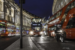 The bus to Waterloo (Alec_Hickman) Tags: regentstreet london westend traffic bus motorbike transport vehicle bike street road lights night city urban bluehour doubledecker colours