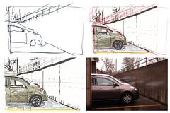 Making of Car Park Rainy Day (jimblodget) Tags: sketch test tracing