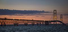 Crossing into the Night (T P Mann Photography) Tags: bridge mackinac mackinaw sea seascape lake huron michigan sundown sunset night nightfall lights traffic crossing