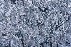 Berlin: Wandmalerei an einem Gebäude des Kreativdorfs Holzmarktes - Mural on one of the buildings of the Holzmarkt creative village (riesebusch) Tags: berlin friedrichshain