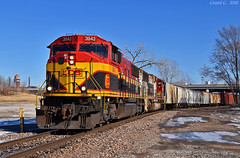 "Westbound Transfer in Kansas City, MO (""Righteous"" Grant G.) Tags: kcs kansas city southern lines railroad railway locomotive train trains west westbound transfer freight emd power prlx santa fe atsf tfm ns norfolk missouri yard job run"