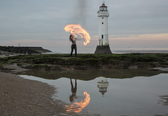 Fire Fun at New Brighton Perch Rock Lighthouse (David Chennell - DavidC.Photography) Tags: wirral firespinning lightpainting merseyside reflection beautiful newbrighton perchrock lighthouse