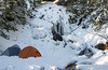 Camping Under Wentworth Falls (Winter) (TheNovaScotian1991) Tags: wentworthvalleyfalls cumberlandcounty winter landscape novascotia canada maritimes trees forest camping tents campsite water icicle frozen waterfall higginsfalls sylviafalls woods brook cliffs brave fearless morninglight morning
