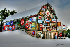 Barn in the USA (Tom Mortenson) Tags: marathoncounty wisconsin wausau winter barn petroliana signs colorful canon canoneos digital geotagged gasolinesigns hdr photomatix usa northamerica signage midwest colors roadside rural