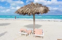 Transats et parasol sur la plage - Cayo Coco, Cuba - 4263 (rivai56) Tags: cuba cu hotel meliájardinesdelrey cayococo deckchairs parasol beach