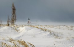 Frozen in Time (mswan777) Tags: 1855mm nikkor d5100 nikon michigan stjoseph seascape landscape scenic water ice cloud fog pier lighthouse shore dune beach grass season snow cold winter