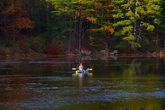 From Warmer Days (SunnyDazzled) Tags: kanawauke lake harriman statepark park trees sunshine water kayak fishing fisherman autumn