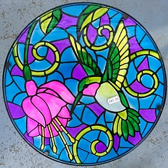 Stained glass Hummingbird (JulieK (thanks for 6 million views)) Tags: hummingbird table stainedglass squareformat squaredcircle iphonese hww wingwednesday colourful beechdalegardencentre wexford ireland irish 2018onephotoeachday smileonsaturday roundandround