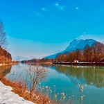 Sunny winter day in the river Inn valley with Zahmer Kaiser mountain, Tyrol, Austria thumbnail