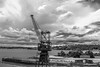 DSC00439 (Damir Govorcin Photography) Tags: water clouds cockatoo island sydney crane monochrome natural light sony a7ii