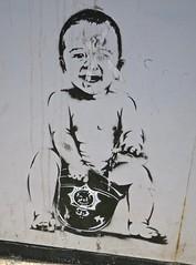 Baby, Blackpool, UK (Robby Virus) Tags: blackpool england uk unitedkingdom britain british greatbritain seaside baby stencil street art banksy helmet police policeman