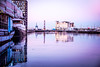 Reflection (Maria Eklind) Tags: building winter reflection spegling sweden outdoor boats malmöstudio fyr canal malmö pink kanal bridge lighthouse water architecture ice skånelän sverige se city boat sky annalindhsplats