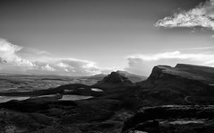 The Edge (-- Q --) Tags: isleofskye trotternish meallnasuiramach thequiraing monochrome qthompson mountains clouds landscape scotland westcoast sky rocks atmosphere