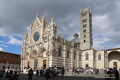 Cathedral of Siena (Jan Kranendonk) Tags: siena italy italian europe european city town building architecture historical landmark sunny sky travel toscane tuscany street church tower marble tourism tourists people crowd crowded white cathedral piazza duomo townsquare plaza facade front gothic clouds cloudy italia