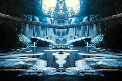 Winter Falls (Photigrapher) Tags: brasstownfalls waterfall water smooth silky fog mist sunset cool kaleidoscope trippy nature landscape beautiful longexposure longexposurewater rocks nikon d3200 winter snow frozen frozenwaterfall icicles symmetry surreal etheral psychedelic reflection