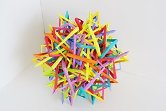 Thirty Interlocking Irregular Hyperboloidal Polarly Diminished Quasi-Crossed Triangular Prisms (Byriah Loper) (Byriah Loper) Tags: origami origamimodular modularorigami modular compound complex byriahloper byriah paperfolding paper polygon polyhedron geometric wireframe woven kusudama