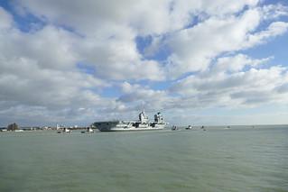 HMS Queen Elizebeth departing