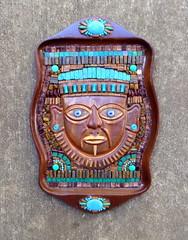 Cuezaltzin (floyfreestyle) Tags: turquoisegod mask copper cuezaltzin aztec mosaic turquoise magnesite tigereye jasper gemstones wallhanging handmade vivid