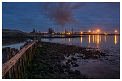 Industry Reflections (dandraw) Tags: nightphotography southgare industry reflection lighting smoke longexposure