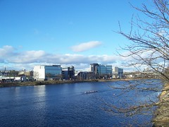 River Dee, Aberdeen, Feb 2018 (allanmaciver) Tags: river dee rowers blue weather shades north silver city aberdeen east coast water building modern offices allanmaciver