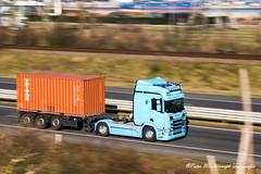 Scania R450 Nextgen (Peter Winterswijk) Tags: scania nextgen r450 4x2 blue container chassis 20foot roadtransport haulage 3axle speed panning maasvlakte transport trucking truck internationaltransport motorway highway traffic port rotterdam industry