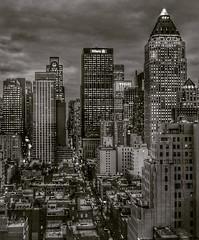 City Life (ginoNYC) Tags: nyc newyorkcity newyork manhattan citylife skyscrapers skyline skyscraper blackandwhite bnw dusk