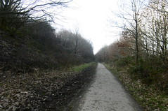 Railway cutting near Woodend Road, Mirfield    Huddersfield (Newtown) - Mirfield  old railway   February 2018 (dave_attrill) Tags: cutting huddersfield newtown hillhouse mirfield lmsr london midland scottish railway disused line goods only branch trackbed west yorkshire riding cycle path foothpath ncn connection sheffieldtobradford february 2018