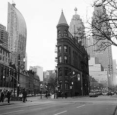Gooderham building (AKPhotoPro) Tags: toronto street old canada architecture yeshica yashicaflex tlr bw