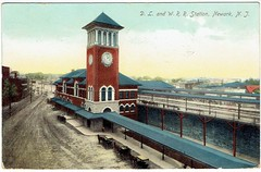 Delaware, Lackawanna & Western Railroad Station, Newark, NJ, 1907 (Guy Clinch) Tags: mimi postcard trainstation railroad