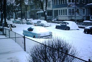 Found Photo - Vintage Snowbound Cars