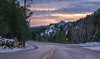 Sunset in the Black Hills (Paul Domsten) Tags: road trees forest sky mountain wood sunset southdakota mountrushmore blackhills pentax colors yellow pink gold snow winter cold hills beauty unitedstates us