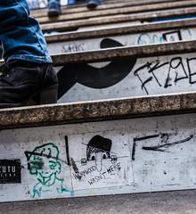 """Wormwood Wasn't Here"" (Street_Sniper) Tags: europe sticker deutschland germany 1855mm apsc kitlens mirrorless xe3 fujifilm fuji station perspective streetphotography street graffitti boot shoe stairs ubahn berlin"