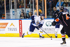 "Kansas City Mavericks vs. Toledo Walleye, January 20, 2018, Silverstein Eye Centers Arena, Independence, Missouri.  Photo: © John Howe / Howe Creative Photography, all rights reserved 2018. • <a style=""font-size:0.8em;"" href=""http://www.flickr.com/photos/134016632@N02/24969299887/"" target=""_blank"">View on Flickr</a>"