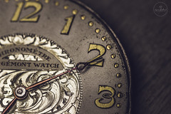 IMG_5497logo (Annie Chartrand) Tags: watch pocketwatch time clock macro movement numbers dial face hands stilllife antique old classic patina red shiny jewelry chronometre corgemont
