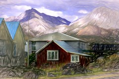 From Iceland. (Tóta. 27.12.1964.) Tags: landscape house mountain grass clouds sky iceland ísland eyrabakki