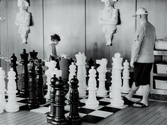 AH, CHESS THE THINKING BOY'S GAME (Visual Images1 (Thanks for over 4 million views)) Tags: chess blackandwhite cruiseship funandgames