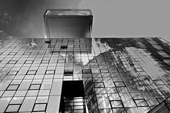 ...and again a reflection (christikren) Tags: viertelzwei prater vienna austria wien building blackwhite schwarzweiss spiegelung offices urban architecture sky reflection geometrie geometry