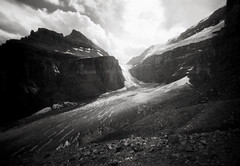 abbot pass, banff (manyfires) Tags: canada abbotpass plainofsixglaciers hike hiking glacier honeymoon landscape travel bw blackandwhite pinhole innova6x9pinhole analog film sunlight banff banffnationalpark vacation valley mountains nationalpark mountlefroy mountvictoria victoriaglacier