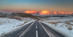 Rush Hour (Impact Imagz) Tags: sunset cloudsstormssunsetssunrises cloudscapes southlochs isleoflewis isleofharris outerhebrides hebrides hebrideanskies hebridean hebrideanlight westernisles scotland scottishislands scottishweather winter winterlight wintercolour winterscene roads tarmac snow weather