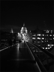 St Paul's across the foot bridge BW (alanhitchcock49) Tags: london night january 2018 black and white st pauls cathedral bw